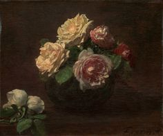 Henri Fantin-Latour  French, 1836-1904, Roses in a Bowl