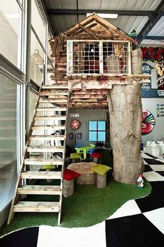 What a cool indoor tree house!