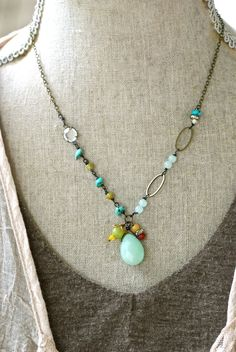 Franchesca. bohogemstonecharm necklace. by tiedupmemories on Etsy, $42.00