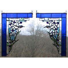 Edel Byrne Cobalt Blue Hummingbird Corner Pair Stained Glass Panels, Artistic Artisan Designer Stain Glass Window Panels