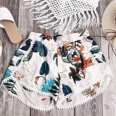 Fashion Print Tassel Lace Beach Shorts