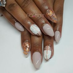 Marble and Rose Gold Nails