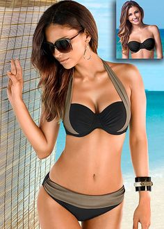 ebcf25f2d76 Black & Sahara Color block bra top with midrise bottom from VENUS. Top  available in
