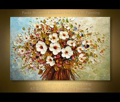New hand-painted Canvas Art Painting Palette knife Colorful Flowers Oil Paintings Modern Home living room Decor Wall Art Picture Abstract Tree Painting, Oil Painting Flowers, Texture Painting, Hand Painted Canvas, Canvas Art, Wall Art Pictures, Art Oil, Spring Blooms, Palette Knife