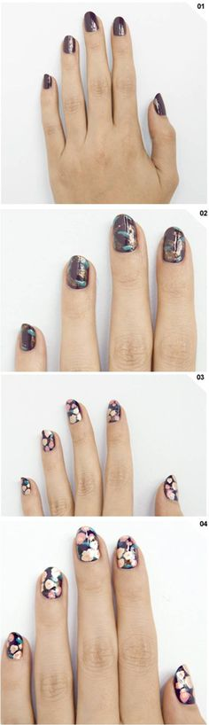 How To: Floral #mani #notd #nailedit #diy #nails #nailart nail art #howto