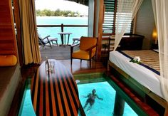 Top 20 World Most Beautiful Living Spaces - The Over Water Bungalow at Le Meridien in Bora Bora