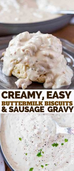 Biscuits and Gravy made with breakfast sausage, milk, and seasoning, served over flakey buttermilk biscuits is a quick and easy breakfast ready in only 20 minutes! Breakfast Gravy, Breakfast Biscuits, Sausage Breakfast, Breakfast For Dinner, Dessert Biscuits, Breakfast Ideas, Quick Easy Breakfast, Savory Breakfast, Breakfast Club