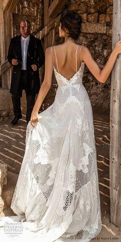galia lahav gala 2017 bridal double thin strap deep sweetheart neckline full embroidered lace high slit skirt romantic modified a  line wedding dress chapel train low back (808) bv