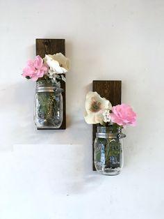 Mason jar sconce tall set of 2 mason jar vase by TreetopWoodworks