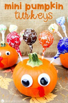 These Mini Pumpkin Turkeys are a fun Thanksgiving Craft to make and send home with your students or to make as decorations for a Thanksgiving classroom party! #minipumpkins #pumpkins #thanksgivingcraft #thanksgiving #pumpkincraft #turkeycraft