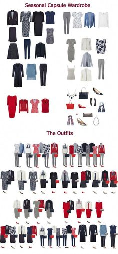 I would swap the red for pink or turquoise. A complete seasonal capsule wardrobe from Looking Stylish Capsule Wardrobe Work, Capsule Outfits, Fashion Capsule, Wardrobe Basics, Mode Outfits, Fashion Outfits, Womens Fashion, Fashion Tips, Fashion Trends