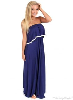 Crash Into Me Navy Maxi Dress   Monday Dress Boutique