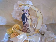Vintage Moon Wedding Cake Topper - Crescent Moon And Stars - Small Size  - Outlined in Gold Glitter