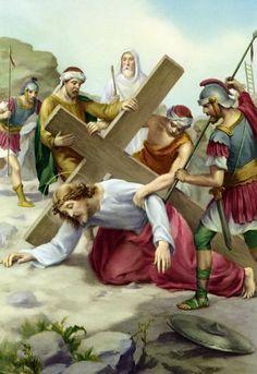 I estação - Jesus é condenado à morte       II estação - Jesus carrega a cruz     III estação - Jesus cai pela primeira vez     IV estaç...