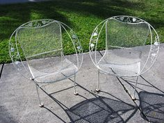 Pair of 1950s Vintage Woodard Wrought Iron Hoop by centaur123, $265.00