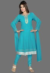 Aqua Blue Faux Georgette Readymade Anarkali Churidar Kameez