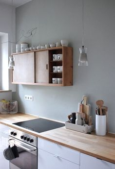 Kitchen with natural wood counters and upper cabinets. White lower cabinets and Minimalist Kitchen Cabinets counters Kitchen natural Upper white Wood Kitchen Decor, Kitchen Inspirations, Kitchen Style, Wood Countertops Kitchen, Wood Countertops, Wood Kitchen, Interior, Kitchen Design, Sage Green Walls