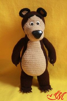 Patrón amigurumi gratis de oso preciso, de los dibujos Masha y el oso.Espero que os guste tanto como a mi! Idioma: Ruso Visto en la red y colgado en mi pagina: Os pongo también su foto para que ve…