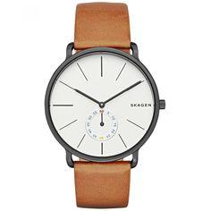 Reloj Skagen de caja y bisel en acero color negro extensible de correa carátula blanca tres manecillas indicadores a tono y detalle de la marca.