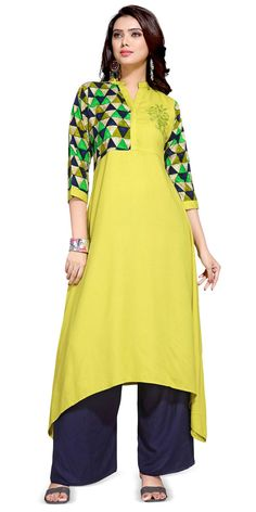 Musty Yellow Rayon Designer Kurti.