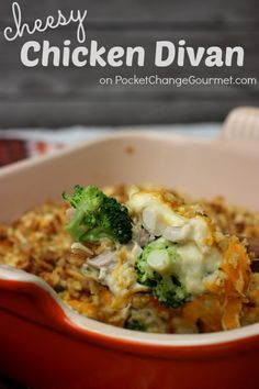 Cheesy Chicken Divan: Perfect recipe to use up leftover chicken or turkey. Recipe on PocketChangeGourmet.com #Easy #Casserole #Recipe