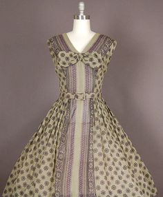 vintage 1950s dress 50s dress full skirt cotton by NodtoModvintage