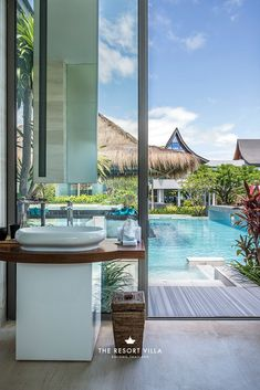 Bathroom with a view at The Resort Villa, luxury resort in Rayong, Thailand.
