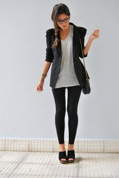 #casual outfit with #leggins and #jacket. For shopping addicted!