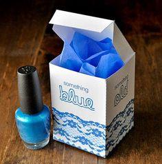 DIY Something Blue Bridal Shower Favor - box free printable