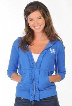 TONS of Kentucky Wildcats women's apparel now on sale at www.UGapparel.com! #Kentucky #Wildcats. Ruffled Hoody now only $34.99!
