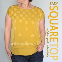 DIY easy square top with stamped polka dots DIY Clothes DIY Refashion