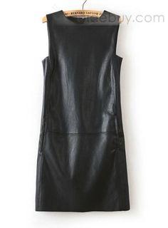 タンクドレス 袖なし レザー スリム PU  (10870915)