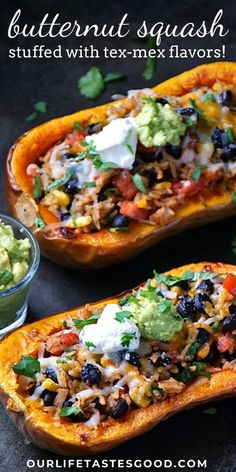 Stuffed Butternut Squash Recipe with rice and black beans is an easy MEATLESS recipe perfect for any night of the week! We LOVE the tex-mex flavors combined with the sweetness of the butternut squash bowls. Vegetarian option too. You won't miss the meat, but you an easily add sausage, ground beef, or chicken to make this stuffed butternut squash recipe to your liking. #LTGrecipes #butternutsquash #easyrecipe #texmex #southwestrecipe #ricebowlrecipe