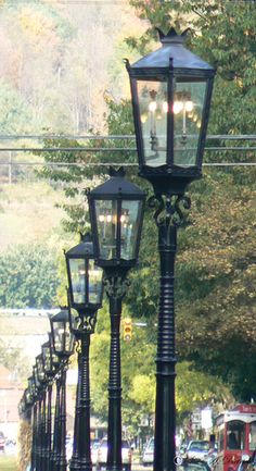 Gas Mantle Kronberg lamps lining the city streets of Wellsboro, PA.