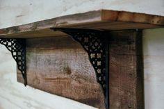 Rustic barnwood shelf, primitive wall shelf, decorative shelf with iron brackets, country wall shelf, cast iron brackets on Etsy, $99.99