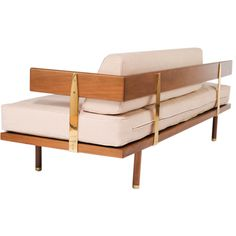 Harvey Probber; Walnut and Brass Daybed, 1957