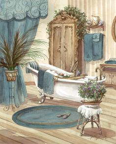 Decorative tiles for bathroom-Victorian Bath II-Tile Mural Decoupage Vintage, Vintage Diy, Vasos Vintage, Decoupage Paper, Bathroom Prints, Bathroom Art, Bathroom Colors, Bathrooms, Bath Art