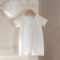 christening romper and hat in cottonthe ROCHESTER by righthand, $120.00