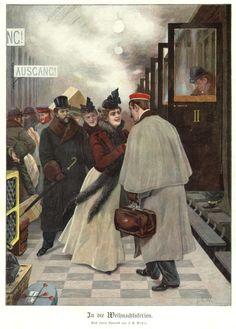Studentika-Weihnachten-Original-Farbholzstich-von-ca-1900