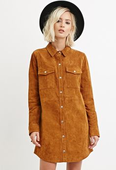 Genuine Suede Shirt Dress - Dresses - 2000161449 - Forever 21 UK