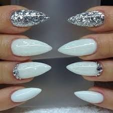 Image result for white and gold stiletto nails