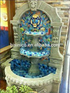 Ceramics Mosaic Little Fountain,Mediterranean Style Wall Hanging  Fountain,Garden Or Balcony Fishpond (bf01-p1015) - Buy Garden Water  Fountain,Ceramic Wall Fountain,Indoor Wall Fountain Product on Alibaba.com