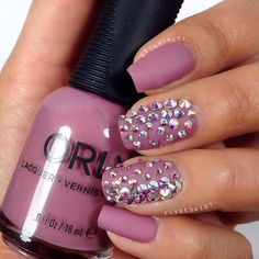 """Matte Mauve + Bling Nails. Love this color by Orly ✨""""classic contours"""" #nail #nailart"""