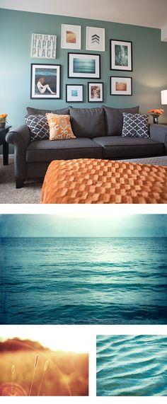 Teal Orange Art Gallery Wall by CarolynCochrane.com | Turquoise Copper Living Room Decor Idea