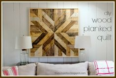 """That's My Letter: """"W"""" is for Wood Planked Quilt, diy wood quilt square wall decor"""