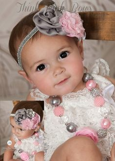 LIttle girls Chunky Necklace and Baby Headband by ThinkPinkBows, $10.95