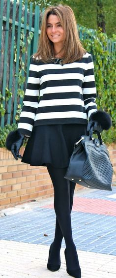 Fall / Winter - street & chic style - stripped sweater + black pleated mini skirt + black thights + high heel ankle boots