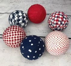 Patriotic Plaid and polka dot fabric wrapped ball- bowl filler- america- july Americana Crafts, Patriotic Crafts, July Crafts, Summer Crafts, Holiday Crafts, Patriotic Party, Fourth Of July Decor, 4th Of July Celebration, 4th Of July Decorations