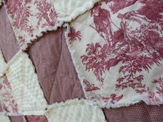 Lap Size Red Toile Rag Quilt French Country by KristinsCountryHome