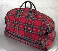 Vintage Red Tartan Weekend Bag